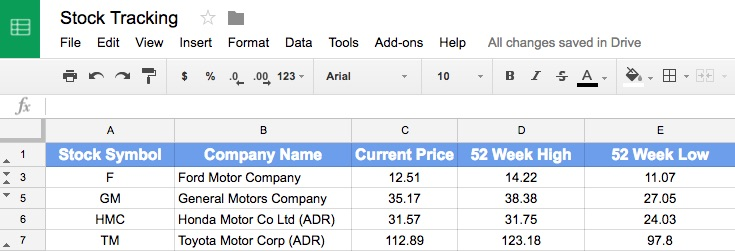 How To Track Stock Data In Google Sheets With Googlefinance Function