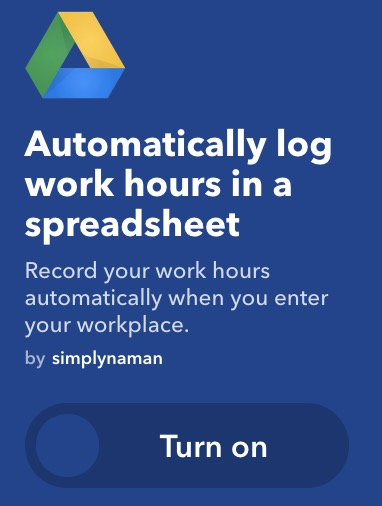 IFTTT to log work hours into a spreadsheet