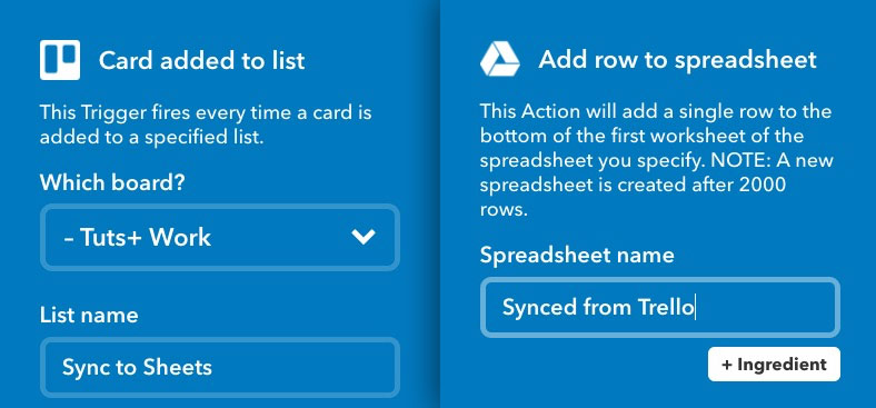 Trello to Google Sheets using IFTTT