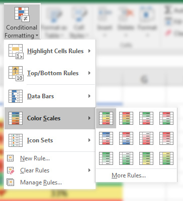 Color Scales conditional formatting