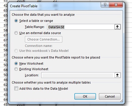 New PivotTable in Excel