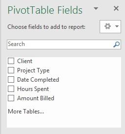PivotTable Fields