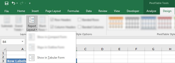Tabular Form in Excel