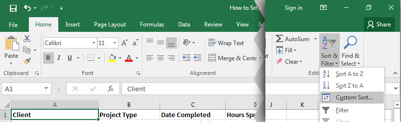 how to change the sort order in excel