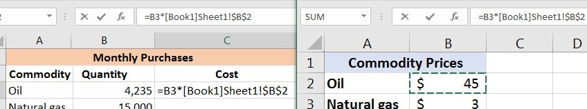 Excel multiplying between workbooks