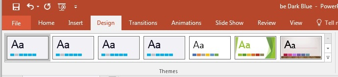 PowerPoint themes ribbon