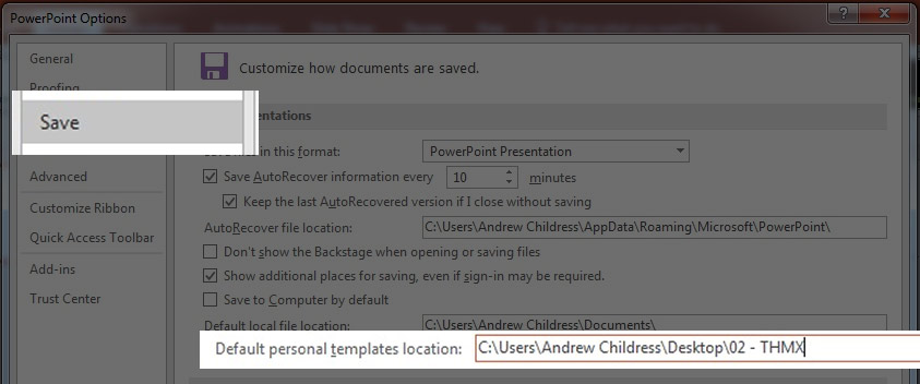 PowerPoint personal template storage