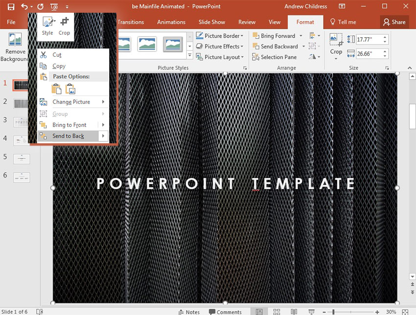 Send to back in PowerPoint layers