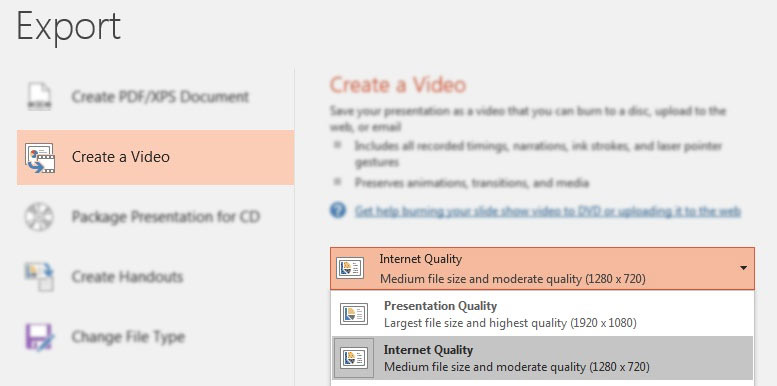 Choose PowerPoint Video Quality