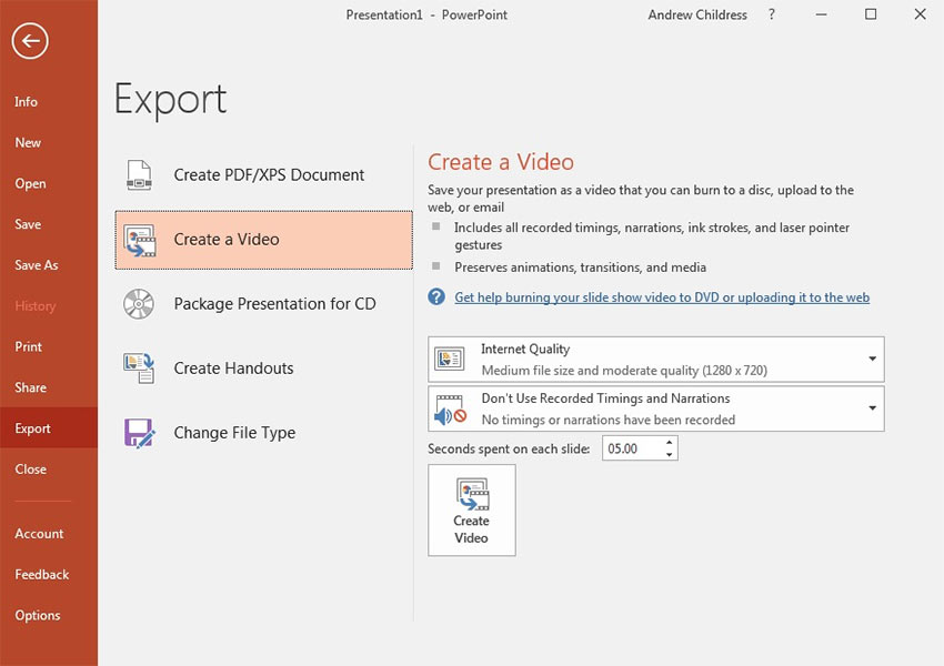 PowerPoint File Export Create a Video