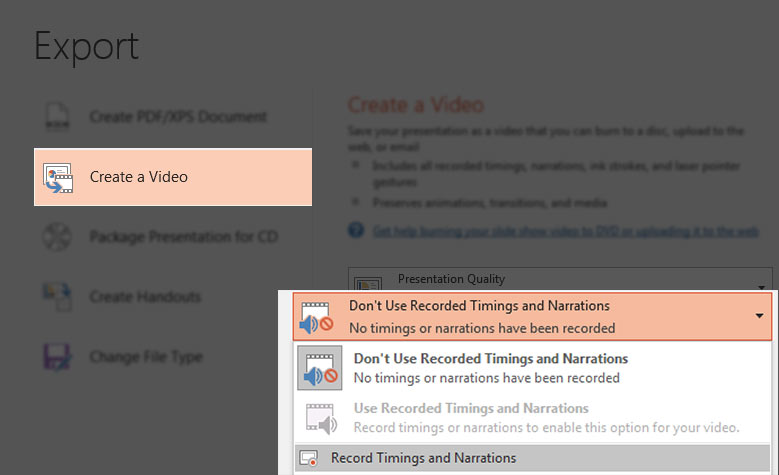 Set video timings in PowerPoint