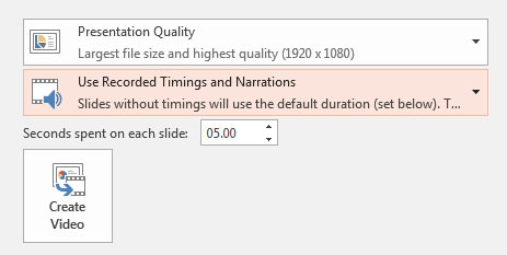Use recorded timings and narrations PowerPoint menu