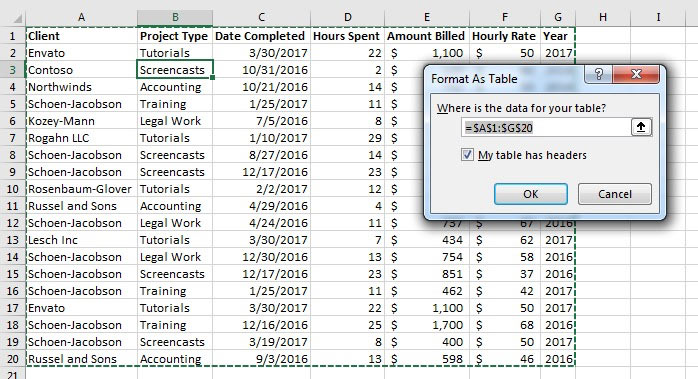 Format as Table menu in Excel