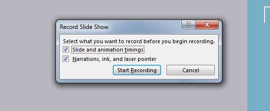 Start Recording PowerPoint slide show