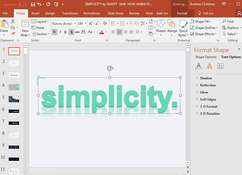 Text shadow and reflection in PowerPoint