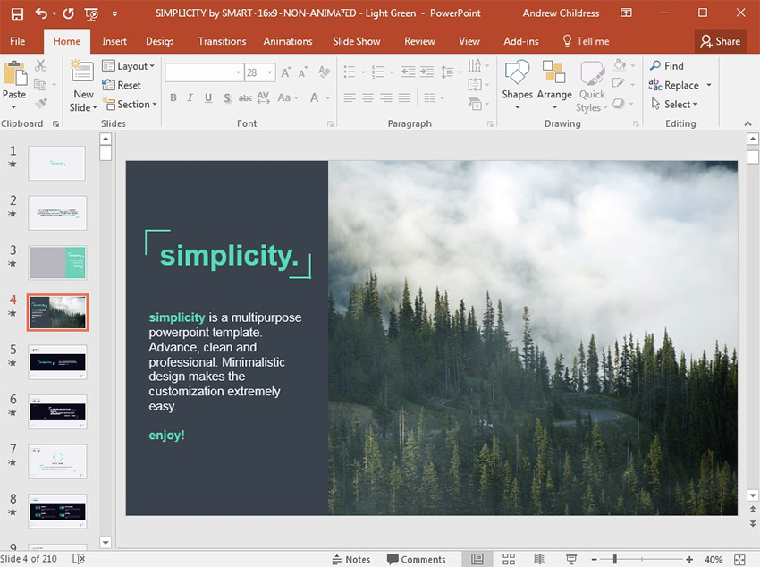 Simplicity PowerPoint template with modern text Fonts