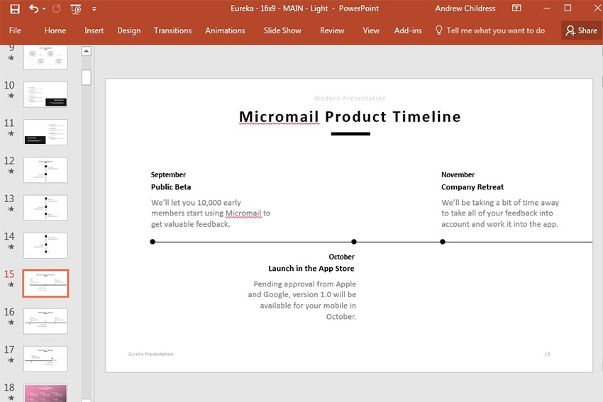Product Timeline Slide Design