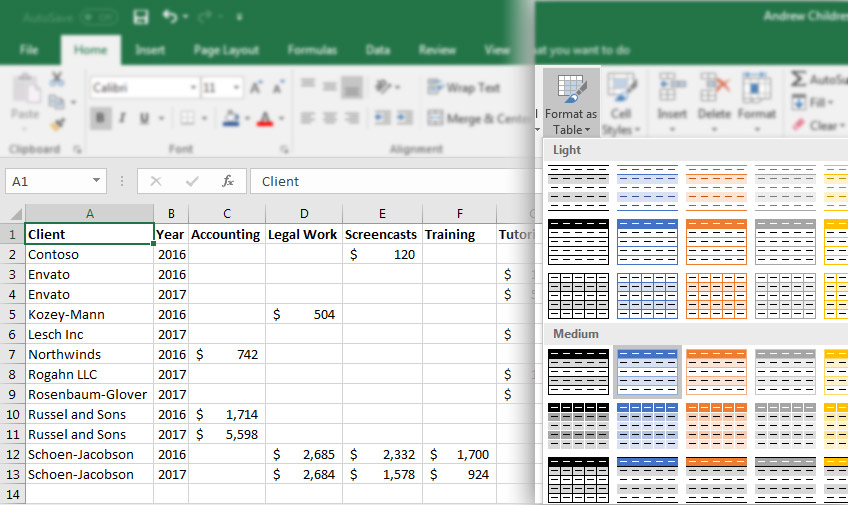 Convert Data to Table format in Excel
