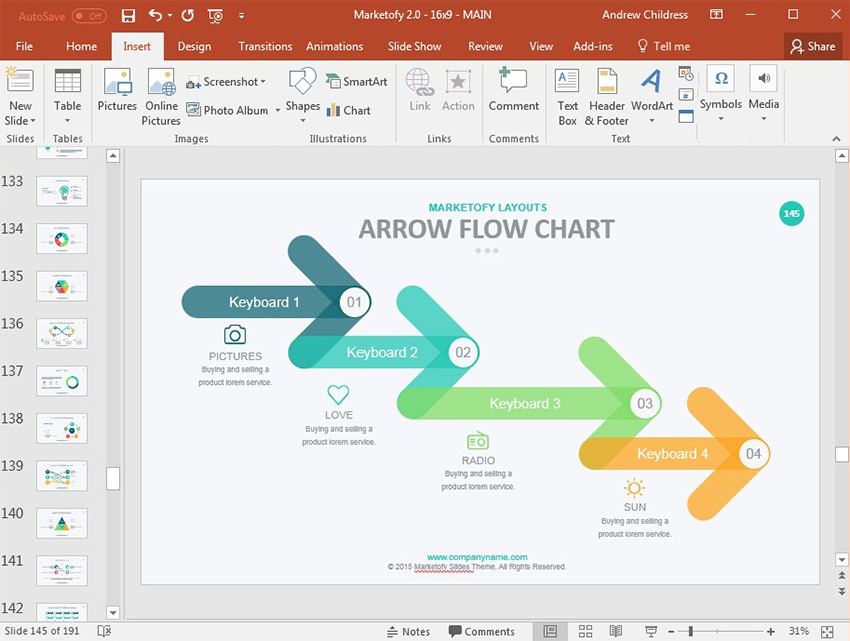 Arrow Flow Chart in PowerPoint