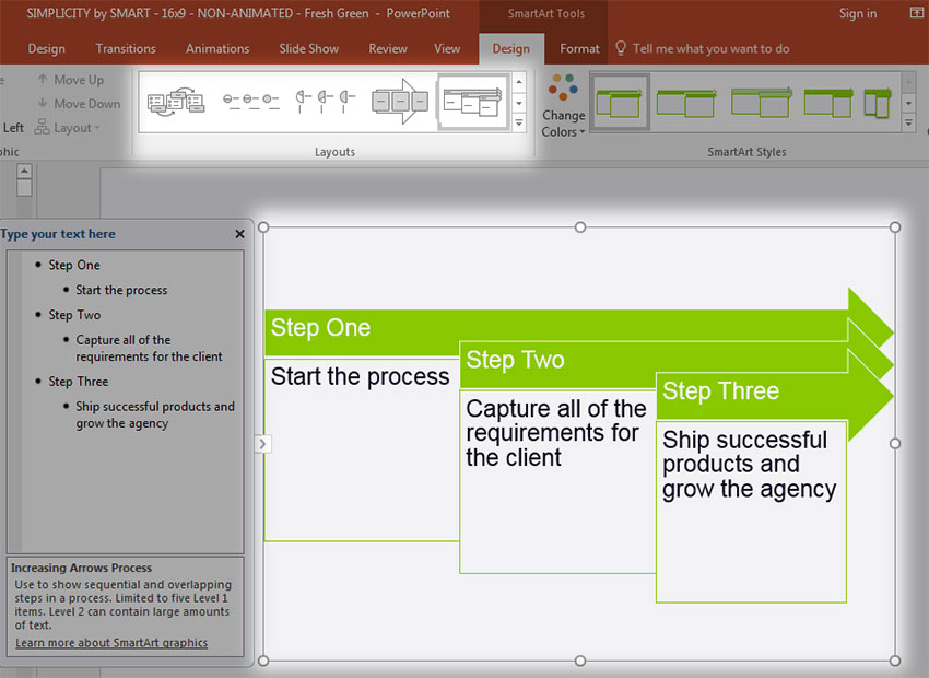 Use SmartArt to make Flowchart steps in PowerPoint