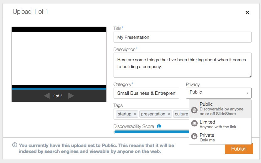 LinkedIn online presentation Upload Settings