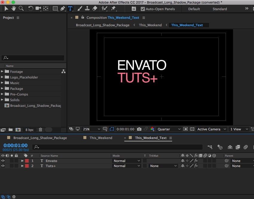 Change text After Effects project