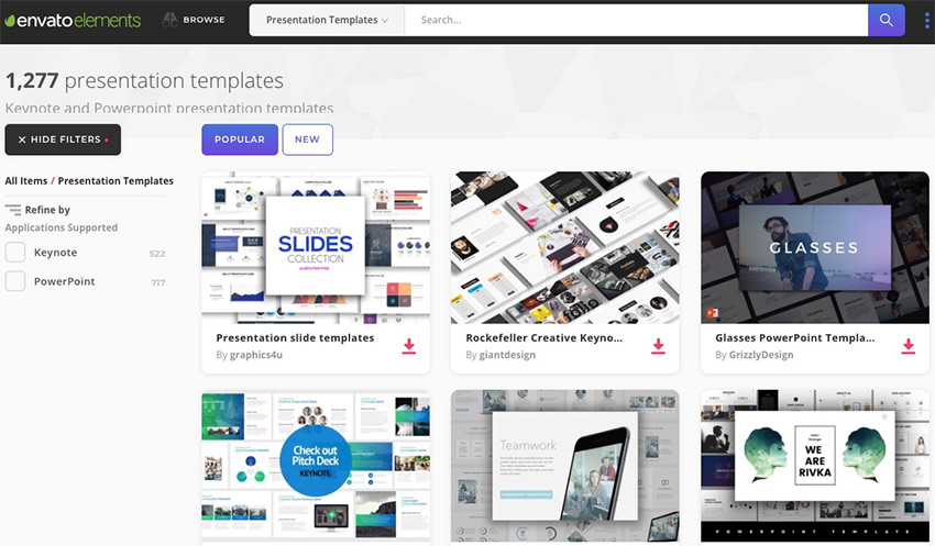 Envato Elements - PowerPoint Presentation Popular Section