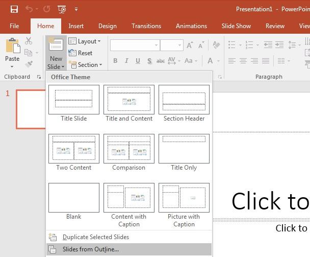 PowerPoint insert Slides from Outline