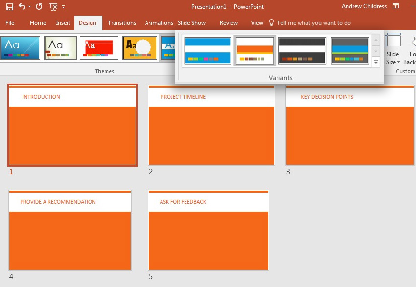 PowerPoint theme variant