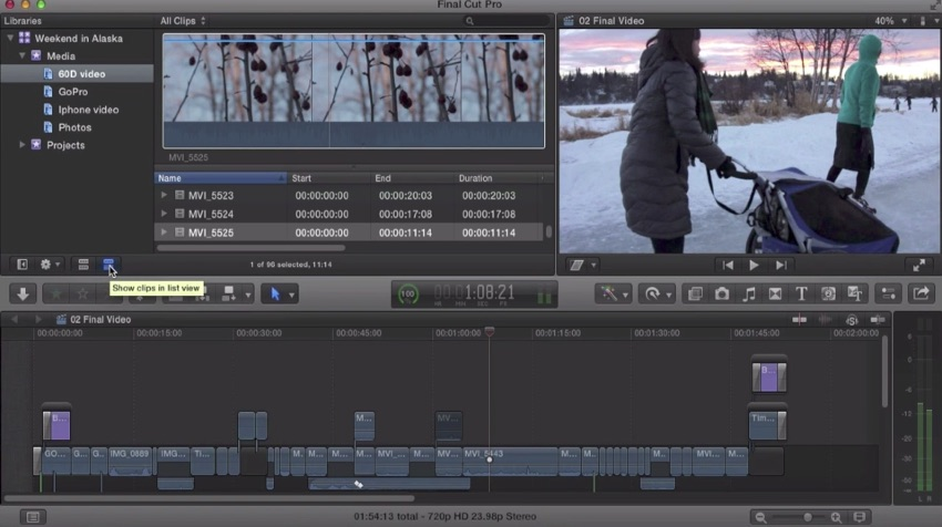 Final Cut Pro X menu