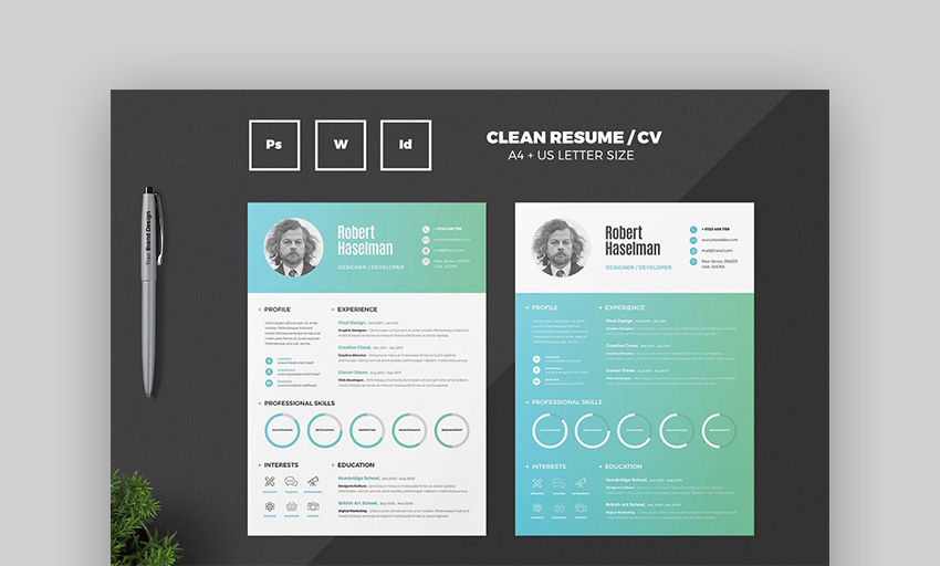 Clean Colorful Resume CV