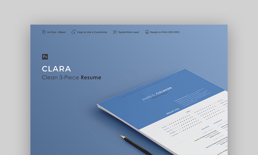 Clara Photoshop Resume Template