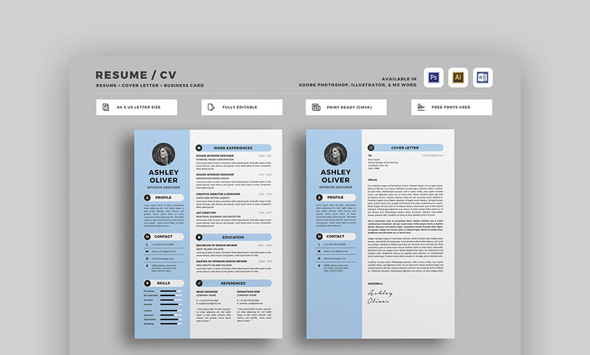 18 best photoshop psd resume templates with photo formats leafloves ashely psd resume template is clean and simple with plenty of room for your profile picture and a brief introduction in the sidebar yelopaper Choice Image