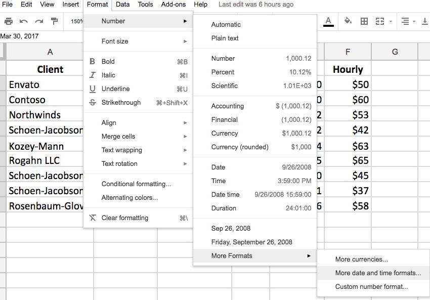 Date formatting options