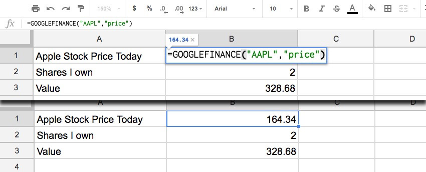 Google Finance Stock Price Screenshot