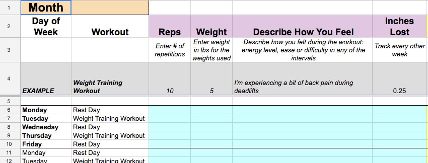 Weight Training Workout tracking
