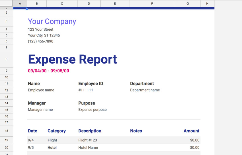 Expense Report Screenshot