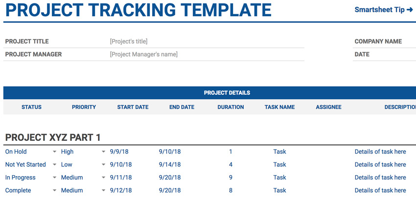 4 project tracking - 20 P L Template For Small Business Recent
