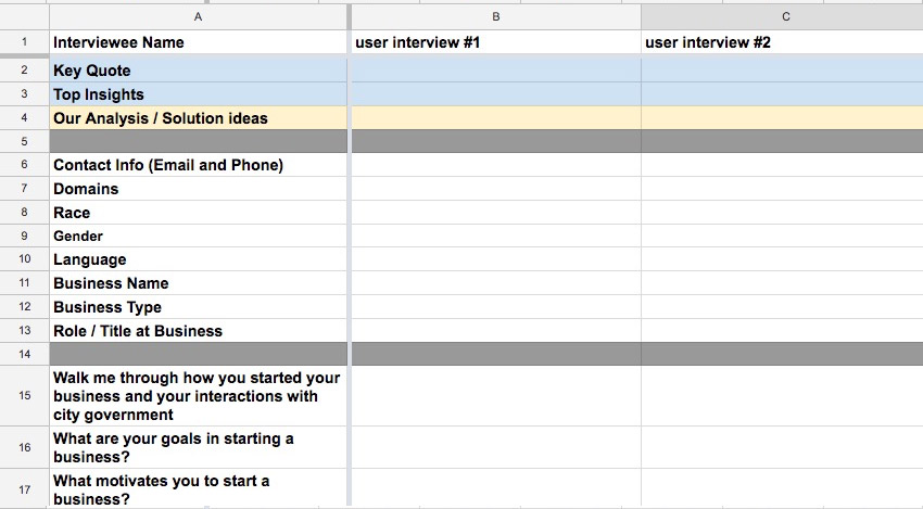 Interview Spreadsheet