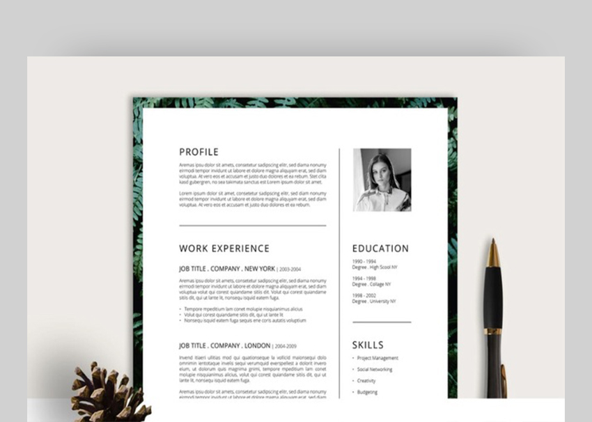 ferns resumecv cover letter creative and simple resume template