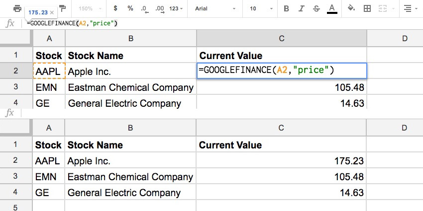 Google Finance example