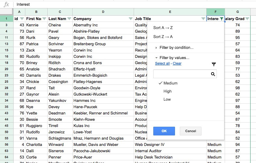 Google Sheets Filter Example