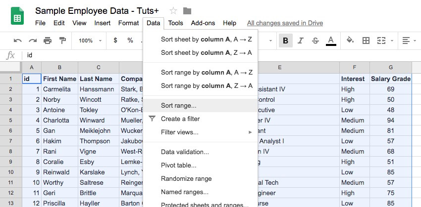 How to Sort & Filter Spreadsheet Data in Google Sheets
