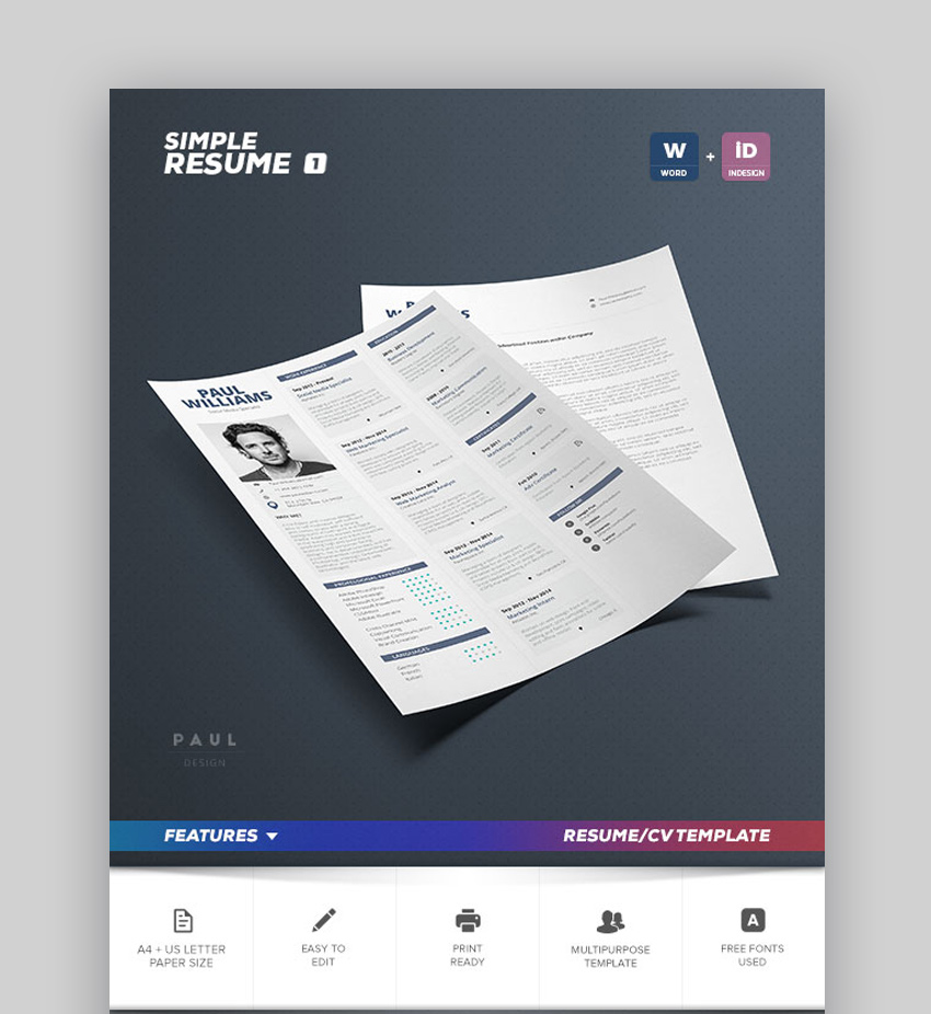 Best Job Resume Templates With Simple Designs