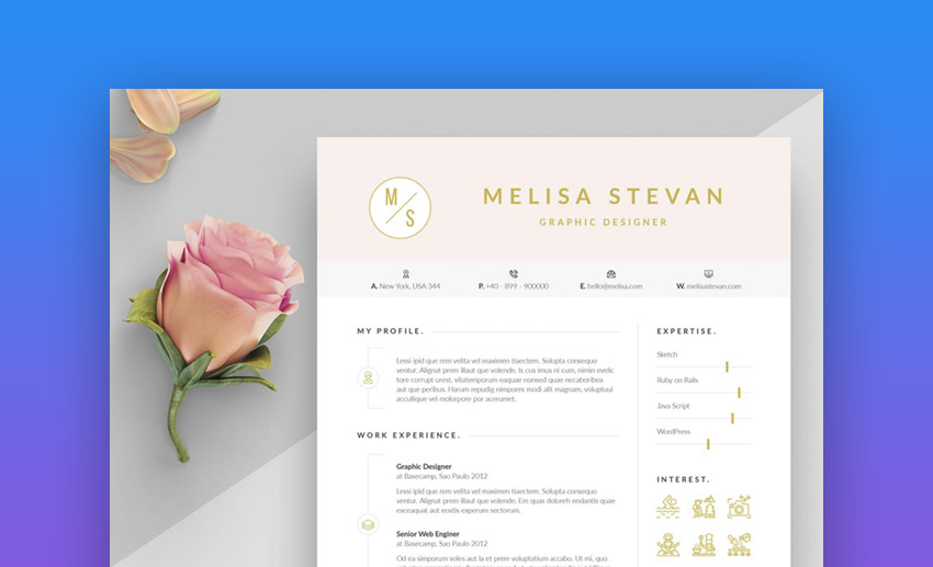 Melisa Colorful and Airy Color in Resume Template