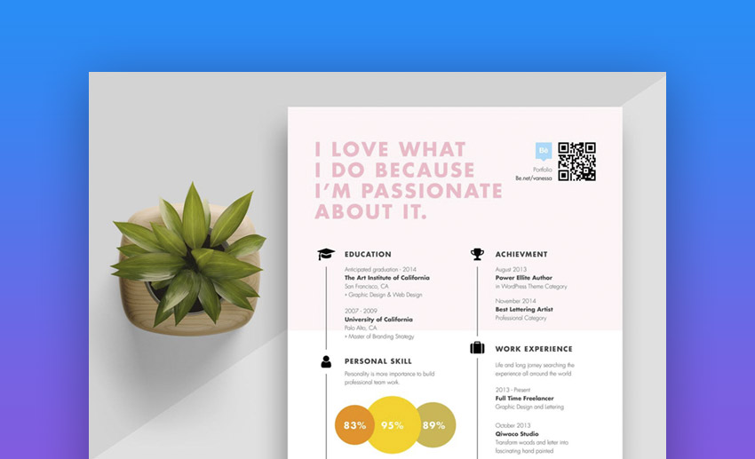 Creative And Colorful Timeline Resume Template