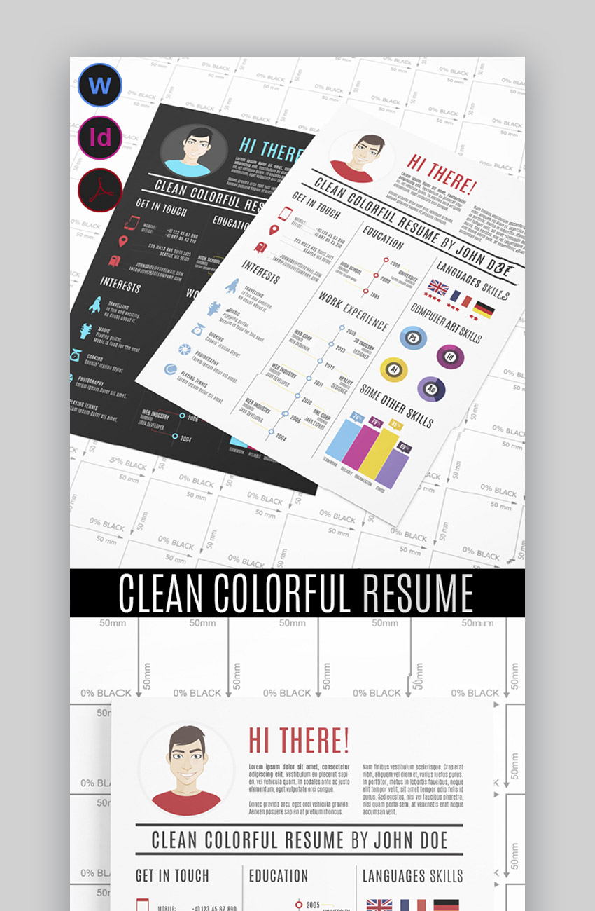 Clean Colorful Resume Templates