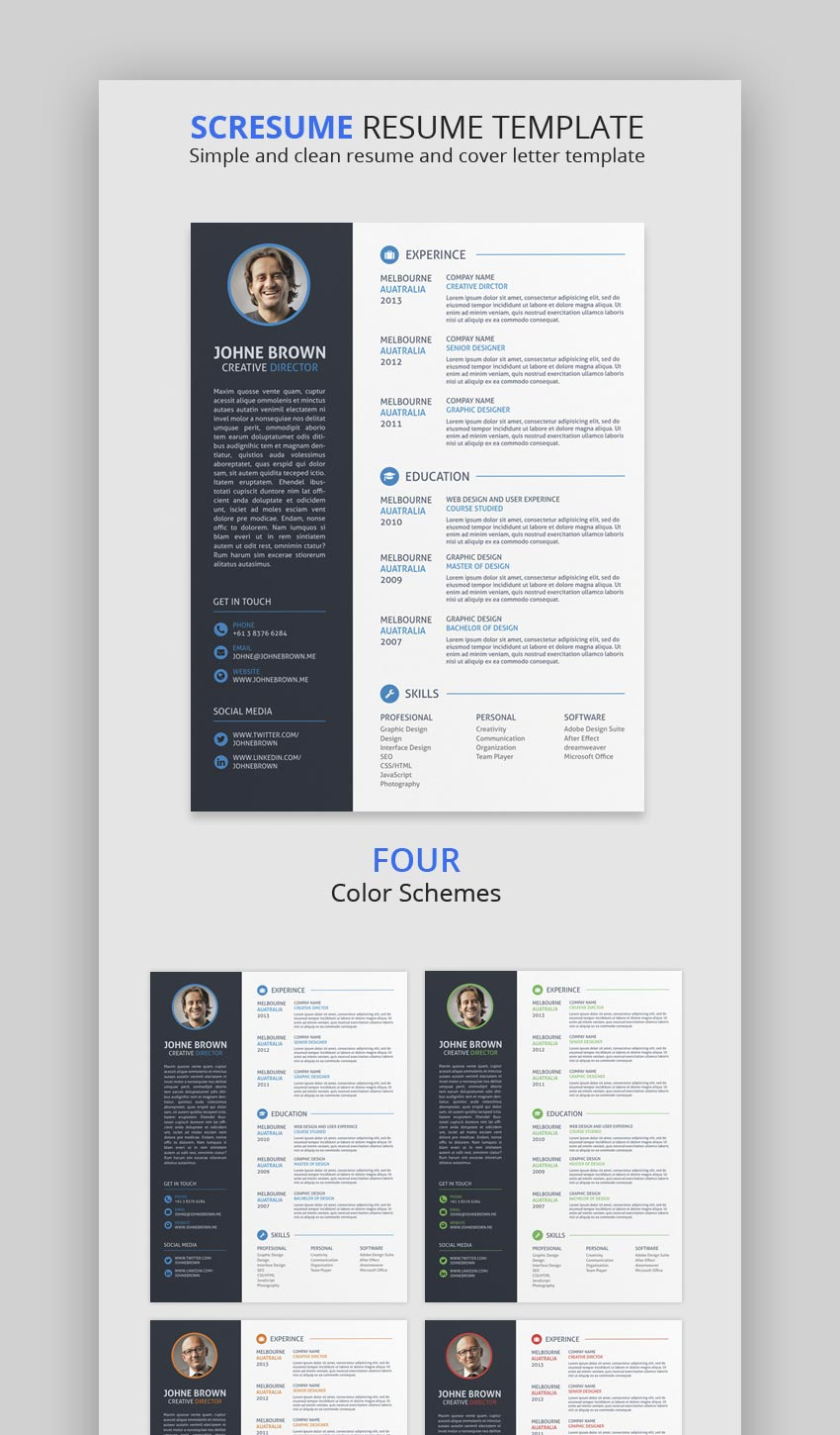 This Creative Resume Template Package Is Like A Kit That Allows You To Design Variety Of Resumes Because It Includes Four Different Color Schemes And