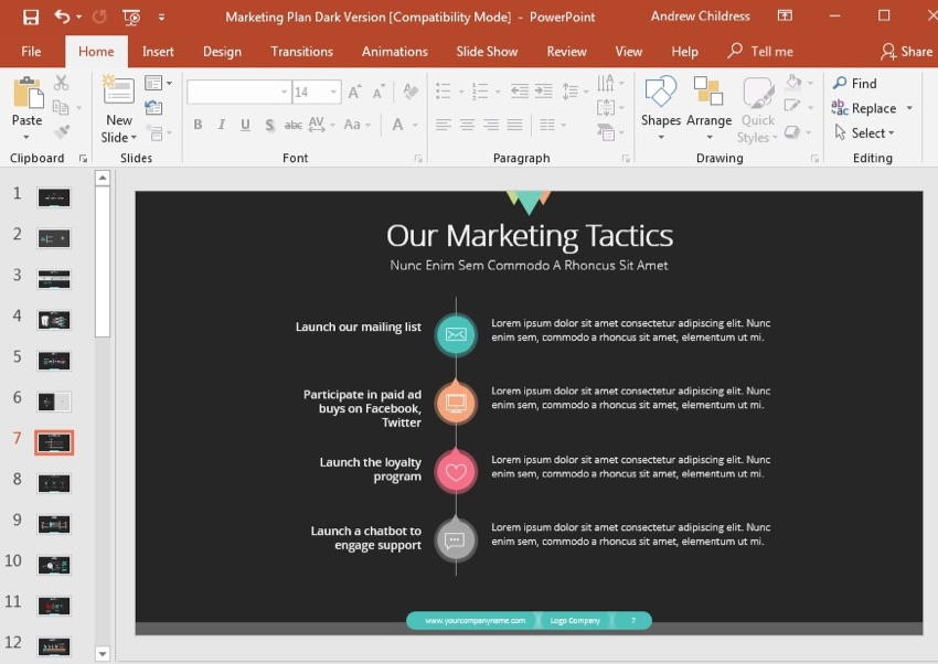 Marketing Tactics Slide Example