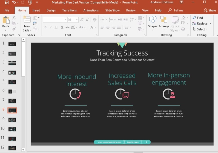 Tracking Success Slide Example